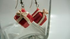 Fimo Red Christmas Present Earrings by JerisJewelryBox on Etsy, $10.00