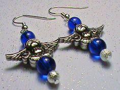 GUARDIAN ANGEL Blue & Silver Glass Bead Earrings by JustAMomFromNH, $8.50