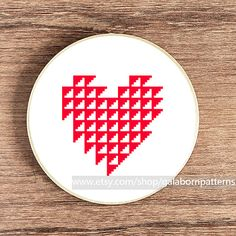 PDF counted cross stitch pattern - Heart embroidery - Geometric