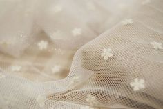Dot Gauze Lace Fabric, Off White French Gauze Lace, Lovely Dotted Floarl Lace Fabric - Fabric by Yard