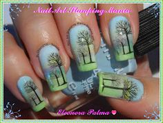 Nail Art Stamping Mania: Gradient Manicure With Home Made Decals