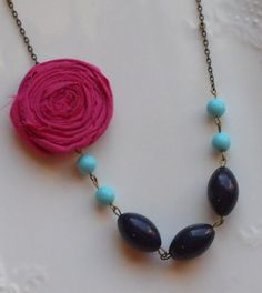 Fuchsia Rosette with Aqua and Navy Beads   by AdornmentsbyWendi, $20.00