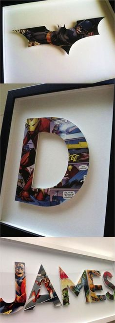 These superhero letters and symbols make a great gift for kids bigs and small. Personalize a letter or name with your favorite comic books for that extra thoughtful gift! A great way to decorate a nursery or a child's bedroom! | Made on Hatch.co by makers & designers who care