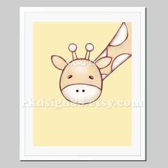 Nursery art print, safari nursery decor, baby nursery wall art, children art print, giraffe illustration, yellow - My Giraffe - 8 x 10 print. $15.00, via Etsy.