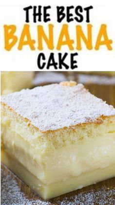 This is, hands down, the BEST banana cake I've ever had. It's soft, fluffy, moist and rich all at the same time! Once cooled this cake is topped with a totally irresistible lemon cream cheese frosting for a perfect dessert your family will love Banana Dessert Recipes, Chocolate Chip Recipes, Easy Cookie Recipes, Easy Desserts, Recipes For Bananas, Homemade Banana Cake Recipe, Chocolate Cake, Sheet Cake Recipes, Cake Recipes From Scratch