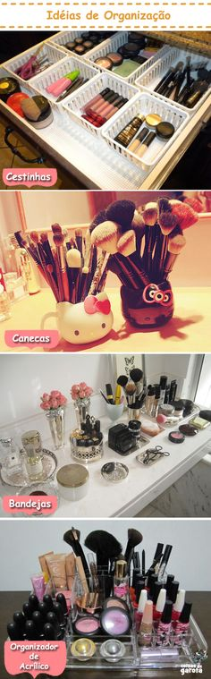 Thse all are great ways to store your makeup and accessories!  I love the fresh, classy look of the vanity. I love the Hello Kitty brush holders!  They are really cute!
