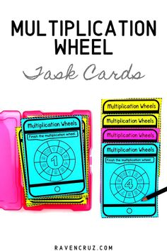 Are you looking for a new multiplication math center for grade? These multiplication wheel task cards are a great way for students to practice their multiplication facts. 4th Grade Math Games, 4th Grade Math Worksheets, Third Grade Math, Fun Math, Math Math, Maths, Multiplication Wheel, Multiplication Activities, Math Activities