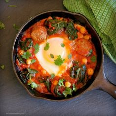 Sausage, Kale, Chickpeas, Egg