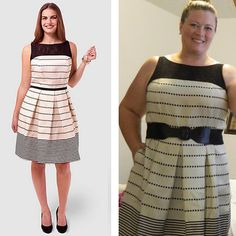 Member Barb S. posted this photo on our Facebook page, wearing the Taylor Stripe Fit & Flare Dress (sizes 16-24)