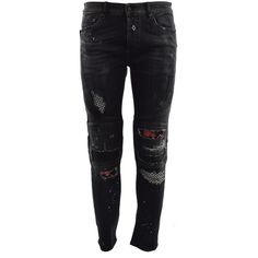 Ain Biker Denim Ripped Jeans ($295) ❤ liked on Polyvore featuring men's fashion, men's clothing, men's jeans, nero, mens denim jeans, mens distressed denim jeans, mens distressed jeans, mens biker jeans and mens leopard print jeans