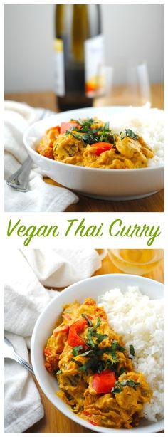 This Vegan Thai Curry is an easy weeknight meal. I used kabocha squash, but you can use potatoes or yams! Be sure to use coconut aminos or Bragg Liquid Aminos instead of soy sauce for Gluten Free!  http://theblenderist.com/vegan-thai-curry-with-kabocha-squash/
