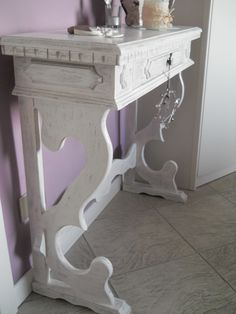 relooking vecchia consolle in stile shabby chic