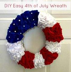 DIY 4th of July Wreath--wreath base made from pipe insulation--so cheap, so cute.