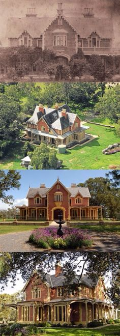 Longerenong Homestead, Longerenong (303km NW of Melbourne), is one of Victoria's finest Picturesque Gothic villas. Sir Samuel Wilson built it in 1862; architects Crouch & Wilson gave it a facade from an American pattern book, with altered interiors. Marble was brought from Italy for floors and fireplaces; stained glass from Belgium. Wilson, 6th son of an Irish farmer, was a pastoralist, politician and philanthropist; he was elected to the British House of Commons in 1886. Country Estate, Country Farm, Country Homes, Australia House, Melbourne Australia, Victoria Australia, Melbourne Victoria, Victorian Rooms, Homestead House