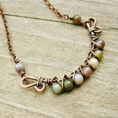 Antiqued Copper and Fancy Jasper Wire Wrapped necklace by BearRunOriginals on Etsy.