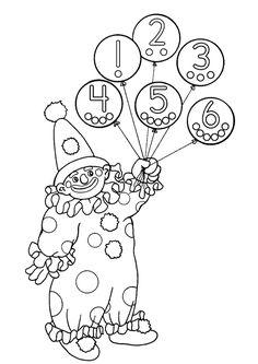 Coloriage d'un clown qui tient des ballons avec les chiffres allant de 1 à 6