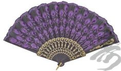 Lavender Peacock Feather Embroidered Hand Fan
