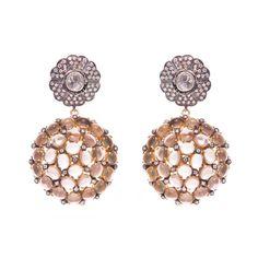 22kt gold plated earrings smokey quartz | Kasturjewels