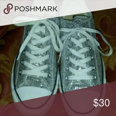 Chucks silver bling Very gentlyused Converse Shoes Sneakers