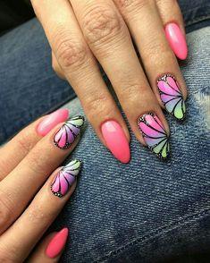 Fashionable Nail Designs - TOP 21 Great Summer Offers - The World Summer Acrylic Nails, Summer Nails, Fancy Nails, Pretty Nails, Nail Art Designs, Pink Black Nails, Nail Design Spring, Painted Nail Art, Butterfly Nail