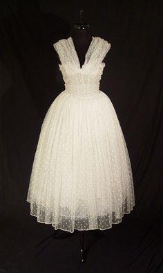Christian Dior 1950's white tulle dress