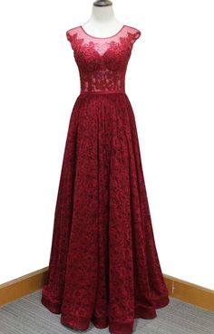 Gorgeous Red Prom Dress,Sleeveless Lace Evening Dress,Beading Prom Dress by prom dresses, $161.00 USD