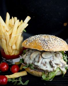 Juicy mushroom swiss cheese burger recipe packed with flavor. This fast and easy recipe will satisfy the most burger-loving-person you know!