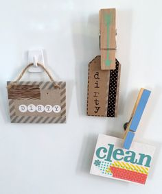 Quick Craft: Dirty/Clean Dishwasher Magnets. Really cute signs for the dishwasher!