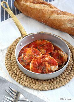 Zamburiñas picantitas con salsa de tomate y jenjibre