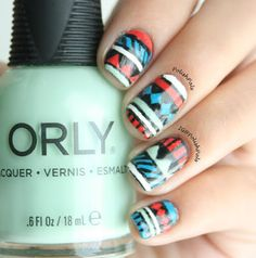 Red, Turquoise, and Mint Tribal Nails by Polish Pals