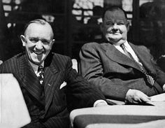 Laurel and Hardy judging a bathing beauty contest 1947