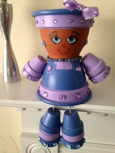Lady in Lavender Clay Pot People Flower Pot Art, Clay Flower Pots, Flower Pot Crafts, Clay Pot Projects, Clay Pot Crafts, Diy Clay, Diy Projects, Flower Pot People, Clay Pot People
