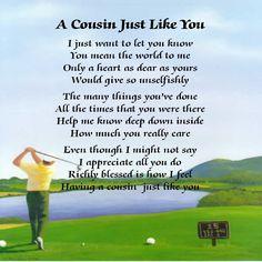 Personalised Coaster - Cousin  Poem - Golf  Design  +  FREE GIFT BOX