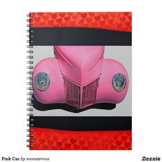 Pink Car Notebook #Pink #Car #Auto #Automobile #Vintage #Classic #Spiral #Notebook