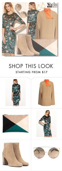 """""""Shein Dark Green Flower Dress"""" by fattie-zara ❤ liked on Polyvore featuring Joseph, Sole Society, Yves Saint Laurent and Chanel"""