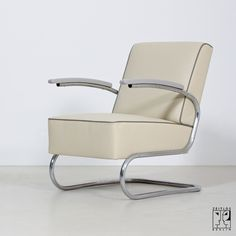 1930s cantilever tubular steel armchair, restored