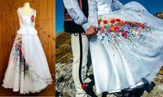 Poland: handpainted weddng dress from the region of Podhale Folk Costume, Costumes, Traditional Skirts, Polish Wedding, Happy Wife, Indian Outfits, New Trends, Getting Married, High Waisted Skirt