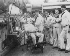 Sailors On Ship With Barber Vintage 8x10 Reprint Of Old Photo