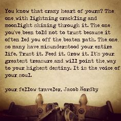 You know that crazy heart of yours? The one with the lightning crackling and moonlight shining through it. It's your greatest treasure. It is the voice of your soul. <3 :)