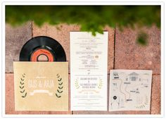 """""""Gijs bought a hundred love songs on 7"""" 45rpm records, and I designed a package which included the record, the wedding invitation with our love story on it, a hand drawn route to the locations and of course the album cover for the record."""""""