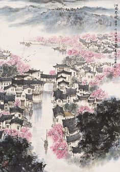 changan-moon: Traditional Chinese painting, 江南春晓 by 宋文治Song. Art Painting, Landscape Paintings, Chinese Art Painting, Painting, Traditional Paintings, Art, Eastern Art, Chinese Drawings, Ink Painting
