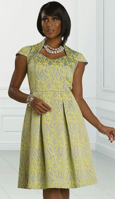 Yellow and gray dress.