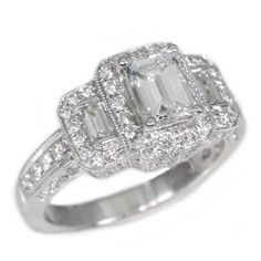 18K White Gold 0.84Ct Emerald Cut Diamond Engagement Ring