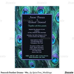 Peacock Feather Drama - Wedding Invitation