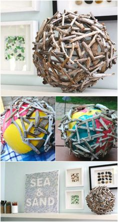 Une décoration unique Glue Gun Projects, Glue Gun Crafts, Craft Projects, Garden Projects, Project Ideas, Diy Projects To Try, Driftwood Projects, Driftwood Art, Driftwood Ideas