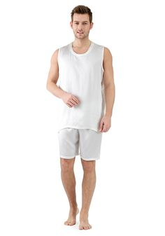 Can't get a good night's sleep? Is your night wear not comfortable? Then maybe you should opt for some other nightwear for men instead. These night wear clothes will help you sleep comfortably through out the entire night. Mens Silk Pajamas, Male Feet, Pajama Party, Mulberry Silk, Nightwear, Tank Man, Guys, Mens Tops, How To Wear
