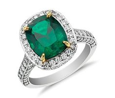 Cushion-Cut Emerald and Micropavé Diamond Halo Ring in 18k Yellow Gold and Platinum (3.10 ct) #bluenile