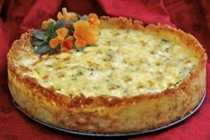 The Café Sucré Farine: Goat Cheese, Fontina & Arugula Quiche w/ Crispy Hash Brown Crust---replace goat cheese with some other cheese, and use spinach.