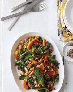 Freekeh with Roasted Butternut Squash, Seared Kale, and Caramelized Onion Jam | Whole Living