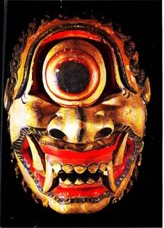 Demon mask with eye in center of forehead, Ceylon. Staatliches Museum fur…